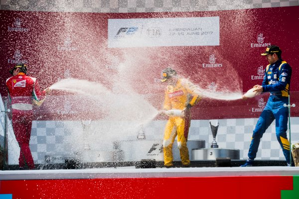 2017 FIA Formula 2 Round 4. Baku City Circuit, Baku, Azerbaijan. Sunday 25 June 2017. Charles Leclerc (MCO, PREMA Racing), Norman Nato (FRA, Pertamina Arden), Nicholas Latifi (CAN, DAMS)  Photo: Zak Mauger/FIA Formula 2. ref: Digital Image _56I8657