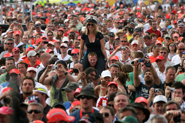 Silverstone, Northamptonshire, England 11th July 2010 Fans at the concertWorld Copyright: Jakob Ebrey/LAT Photographic