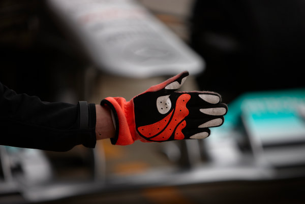 Silverstone, Northamptonshire, England 8th July 2011 Gloved hand of a Mercedes GP mechanic. Detail.  World Copyright: Steve Etherington/LAT Photographic ref: Digital Image SNE21219