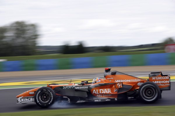 2007 French Grand Prix - Friday PracticeCircuit de Nevers Magny Cours, Nevers, France.29th June 2007.Adrian Sutil, Spyker F8-VII Ferrari, locks a wheel under braking. Action. World Copyright: Andrew Ferraro/LAT Photographicref: Digital Image VY9E1793