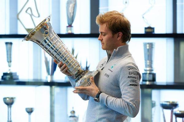 2016 Mercedes AMG F1 World Championship Celebrations. Mercedes F1, Brackley, UK Thursday 1st December 2016. F1 World Champion Nico Rosberg pays a visit to the factory with the FIA trophy. Photo: Steve Etherington/LAT Photographic ref: Digital Image SNE11722