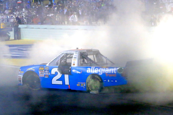 18 November, 2016, Homestead, Florida USA Johnny Sauter celebrates his Championship win with a burnout ?2016, Russell LaBounty LAT Photo USA