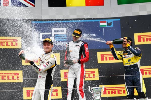 2014 GP2 Series Round 7. Hungaroring, Budapest, Hungary. Sunday 27 July 2014. Stoffel Vandoorne (BEL, ART Grand Prix), Jolyon Palmer (GBR, DAMS) & Felipe Nasr (BRA, Carlin)  Photo: Sam Bloxham/GP2 Series Media Service. ref: Digital Image _SBL9504
