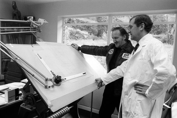 (L to R): Maurice Phillipe (GBR) with fellow Tyrrell Designer Derek Gardner (GBR) looking at plans for the new car.