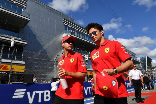 Sebastian Vettel, Ferrari, and Charles Leclerc, Ferrari, in the drivers parade