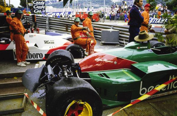The remains of Riccardo Patrese's Alfa Romeo 185T and Niki Lauda's McLaren MP4-2B TAG.