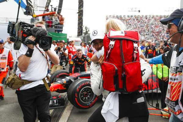 Lewis Hamilton, Mercedes AMG F1, celebrates in Parc Ferme after securing his 5th world drivers championship
