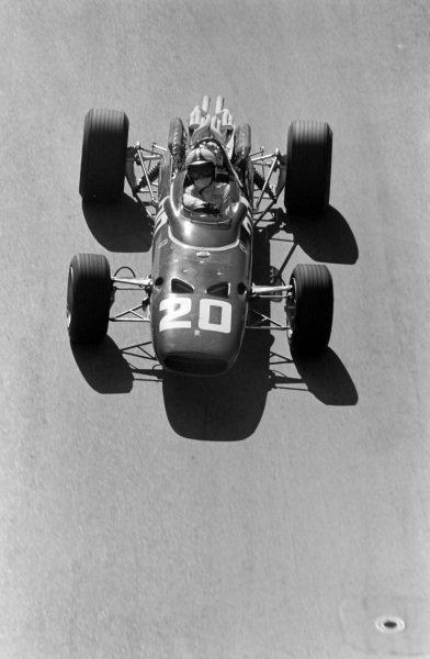 Chris Amon, Ferrari 312, corrects a slide.