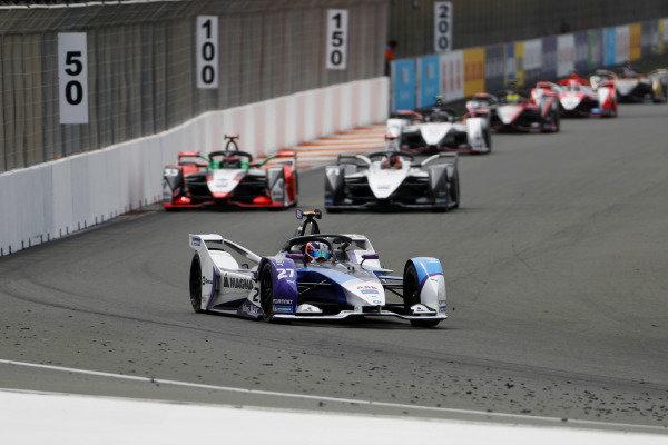 Jake Dennis (GBR), BMW I Andretti Motorsport, BMW iFE.21, leads Rene Rast (DEU), Audi Sport ABT Schaeffler, Audi e-tron FE07, and Norman Nato (FRA), Venturi Racing, Silver Arrow 02