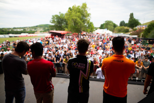 HUNGARORING, HUNGARY - AUGUST 02: Pedro Piquet (BRA, Trident) Jehan Daruvala (IND, PREMA Racing) Felipe Drugovich (BRA, Carlin Buzz Racing) and Alessio Deledda (ITA, Campos Racing) during the Hungaroring at Hungaroring on August 02, 2019 in Hungaroring, Hungary. (Photo by Joe Portlock / LAT Images / FIA F3 Championship)