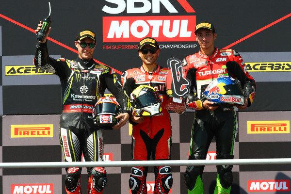 Jonathan Rea, Kawasaki Racing Team, Alvaro Bautista, Aruba.it Racing-Ducati Team, Toprak Razgatlioglu, Turkish Puccetti Racing.