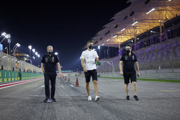 George Russell, Mercedes-AMG Petronas F1 walks the track