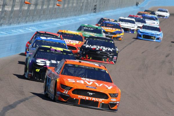#14: Clint Bowyer, Stewart-Haas Racing, Ford Mustang ITsavvy and #48: Jimmie Johnson, Hendrick Motorsports, Chevrolet Camaro Ally