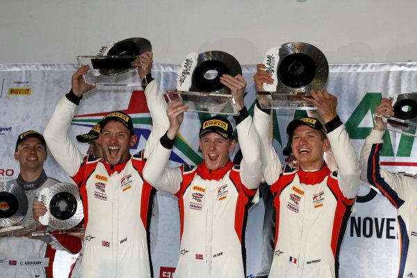 Podium: Winner #31 Frikadelli Racing Team Porsche 911 GT3 R: Dennis Olsen, Mathieu Jaminet, Nick Tandy.