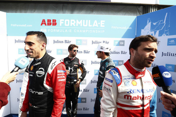 Sébastien Buemi (CHE), Nissan e.Dams, Antonio Felix da Costa (PRT), DS Techeetah, Mitch Evans (NZL), Panasonic Jaguar Racing, and Jérôme d'Ambrosio (BEL), Mahindra Racing