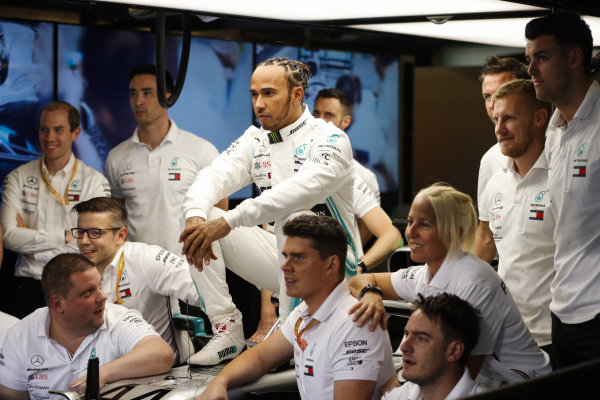Lewis Hamilton, Mercedes AMG F1, poses for a group photo