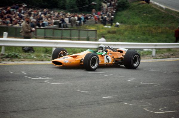 Spa-Francorchamps, Belgium. 7-9 June 1968. Bruce McLaren (McLaren M7A Ford) 1st position. This was the McLaren constructors maiden Grand Prix win. Ref-68BEL02. World Copyright - LAT Photographic