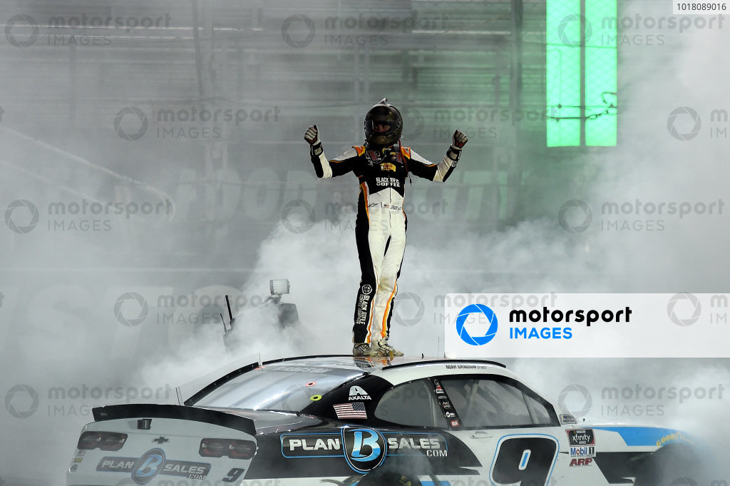 Race winner Noah Gragson, JR Motorsports Chevrolet Plan B Sales, Copyright: Kevin C. Cox/Getty Images.