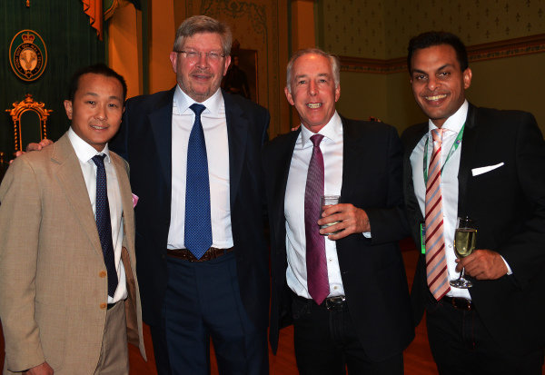 (L to R): Matty Lowe (AUS), Ross Brawn (GBR) Formula One Managing Director of Motorsports, Keith Sutton (GBR) Sutton Images CEO and Sanesh Balasingam (SIN) Rewind Magazine Singapore at Official Grand Prix Welcome Reception at Government House at Formula One World Championship, Rd1, Australian Grand Prix, Preparations, Albert Park, Melbourne, Australia, Thursday 23 March 2017.