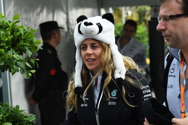 Kim Stevens (GBR) Mercedes AMG F1 Track Aerodynamicist and Panda hat at Formula One World Championship, Rd2, Chinese Grand Prix, Qualifying, Shanghai, China, Saturday 8 April 2017.