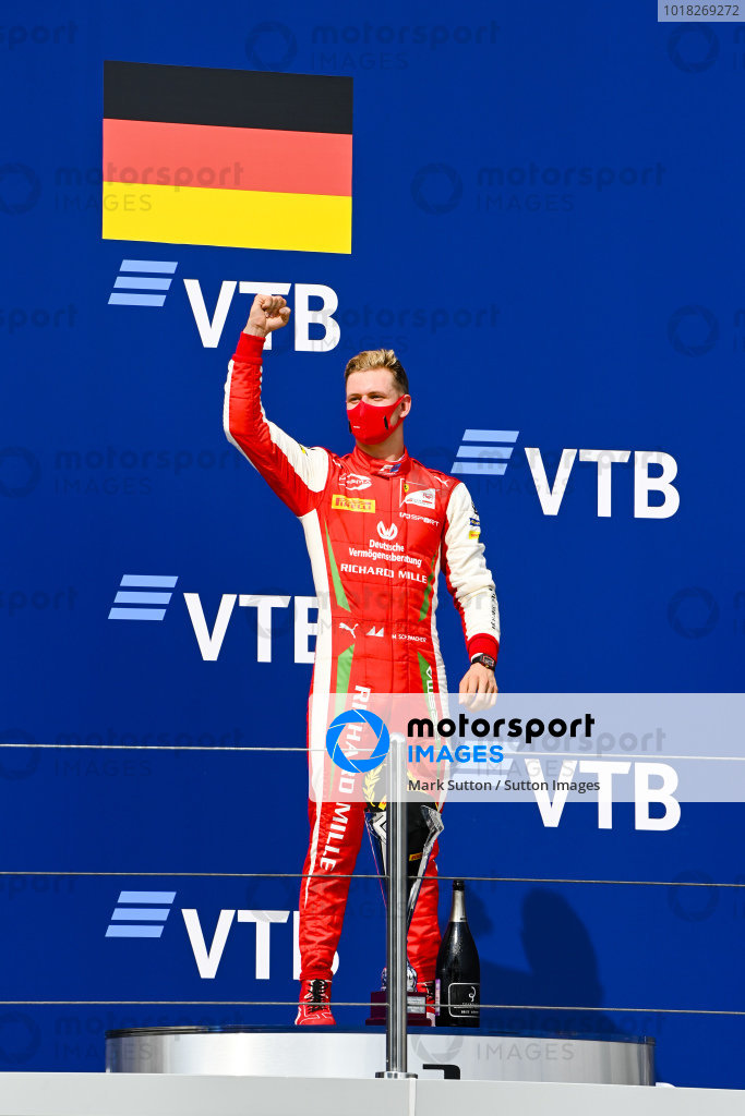 Race Winner Mick Schumacher (DEU, PREMA RACING) celebrates on the podium
