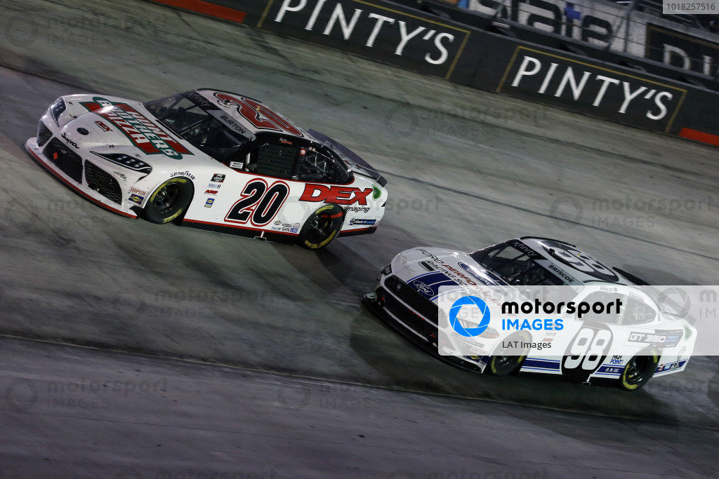 #20: Harrison Burton, Joe Gibbs Racing, Toyota Supra Hunt Brothers Pizza/DEX Imaging and #98: Chase Briscoe, Stewart-Haas Racing, Ford Mustang Ford Performance Racing School