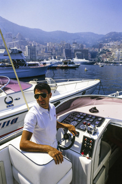 Michele Alboreto, Ferrari, at the wheel of a boat in Monaco