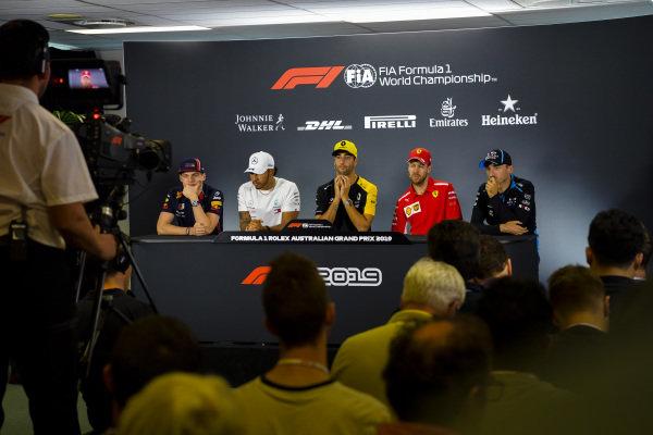 Max Verstappen, Red Bull Racing, Lewis Hamilton, Mercedes AMG F1, Daniel Ricciardo, Renault F1 Team, Sebastian Vettel, Ferrari and Robert Kubica, Williams Racing during Press Conference