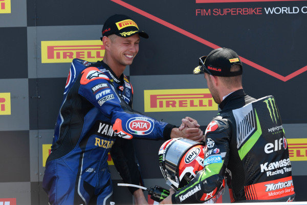 Podium: race winner Jonathan Rea, Kawasaki Racing, second place Michael van der Mark, Pata Yamaha.
