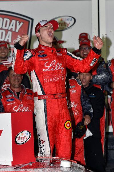 20-21 February, 2015, Daytona Beach, Florida USA Ryan Reed celebrates his win in Victory Lane ? 2015, Nigel Kinrade LAT Photo USA