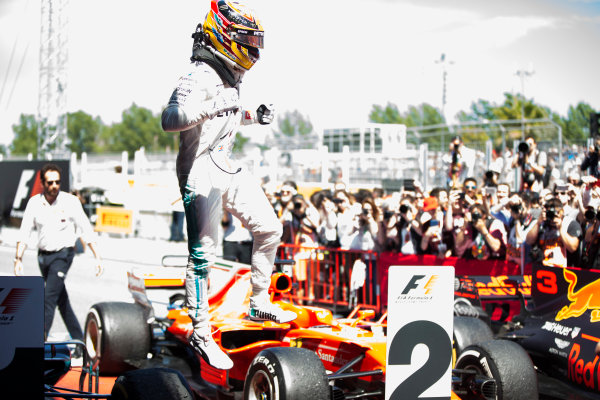 Circuit de Catalunya, Barcelona, Spain. Sunday 14 May 2017. Lewis Hamilton, Mercedes AMG, 1st Position, celebrates on arrival in Parc Ferme. World Copyright: Andy Hone/LAT Images ref: Digital Image _ONY6781