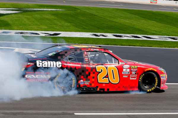 2017 NASCAR Xfinity Series My Bariatric Solutions 300 Texas Motor Speedway, Fort Worth, TX USA Saturday 8 April 2017 Erik Jones, Game Stop/ GAEMS Toyota Camry celebrates his win with a burnout World Copyright: Russell LaBounty/LAT Images ref: Digital Image 17TEX1rl_2547