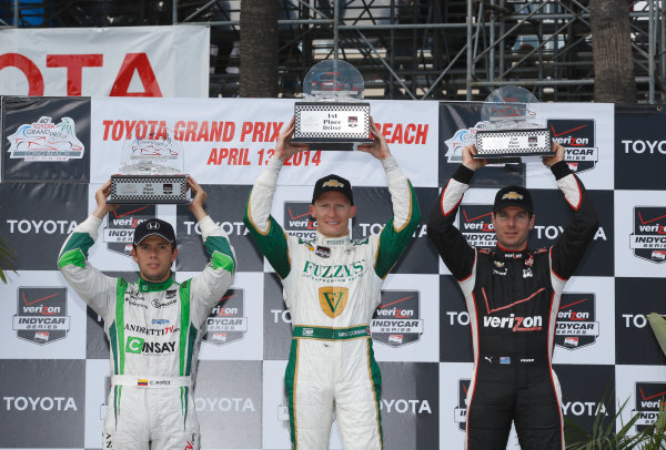 11-13 April, 2014, Long Beach, California USA Mike Conway, Will Power and Carlos Munoz celebrate on the podium ©2014, Michael Levitt LAT Photo USA