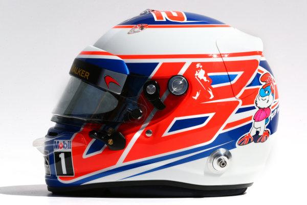 Albert Park, Melbourne, Australia. Thursday 13 March 2014. The helmet of Jenson Button (GBR) McLaren. World Copyright: xpb Images/LAT Photographic. ref: Digital Image 2014helmets07