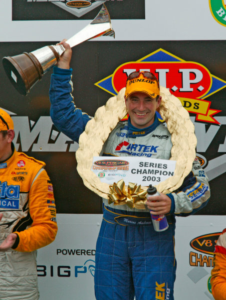 Australian V8 Supercars, Round 13, Eastert Creek, Sydney. 30th Nov 2003.Ford driver Marcos Ambrose takes victory in race 2 to win the 2003 V8 Supercar Championship at the VIP Petfoods Main Event at Eastern Creek International Raceway 20km west of Sydney NSW, Australia.Photo: Mark Horsburgh/LAT Photographic