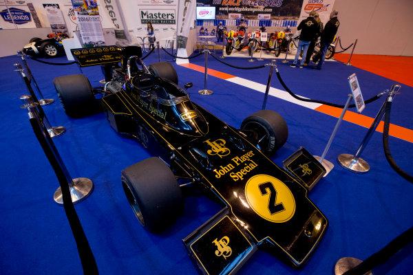 Autosport International Exhibition.  National Exhibition Centre, Birmingham, UK. Thursday 14 January 2016.  JPS Lotus F1 car on the Historics stand. World Copyright: Zak Mauger/LAT Photographic. ref: Digital Image _L0U1304