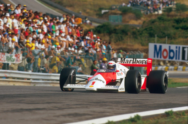 Estoril, Portugal.18-20 September 1987.Alain Prost (McLaren MP4/3 TAG Porsche) 1st position.Ref-87 POR 12.World Copyright - LAT Photographic