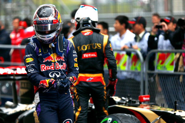 Shanghai International Circuit, Shanghai, China. Saturday 19 April 2014. Sebastian Vettel, Red Bull Racing, arrives in Parc Ferme. World Copyright: Andy Hone/LAT Photographic. ref: Digital Image _ONZ5328