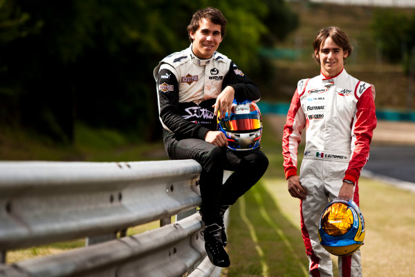 Round 6.Hungaroring, Budapest, Hungary. 29th July 2010. Thursday Preview.Robert Wickens, (CAN, Status Grand Prix) and Esteban Gutierrez, (MEX, ART Grand Prix) winners of races 9 and 10 in the GP3 series at Hockenheim. Portrait. World Copyright: Drew Gibson/GP3 Media Service. Digital Image _Y2Z0899