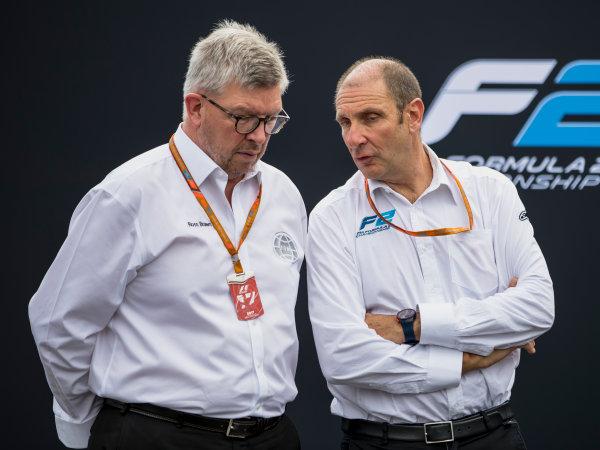 Autodromo Nazionale di Monza, Monza, Italy. Thursday 31 August 2017. Ross Brawn and Bruno Michel. Photo: Zak Mauger/FIA Formula 2. ref: Digital Image _54I4976