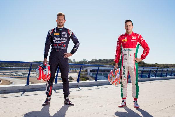 2017 FIA Formula 2 Round 10. Circuito de Jerez, Jerez, Spain. Thursday 5 October 2017. Luca Ghiotto (ITA, RUSSIAN TIME), Antonio Fuoco (ITA, PREMA Racing).  Photo: Zak Mauger/FIA Formula 2. ref: Digital Image _56I3831