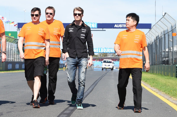 Nico Hulkenberg (GER) Force India F1 walks the track with Bradley Joyce (GBR) Force India F1 Race Engineer at Formula One World Championship, Rd1, Australian Grand Prix, Preparations, Albert Park, Melbourne, Australia, Wednesday 11  March 2015.