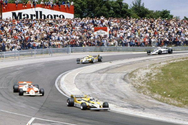 Dijon-Prenois, France. 3-5 July 1981.Alain Prost (Renault RE30) leads John Watson (McLaren MP4/1-Ford Cosworth), Rene Arnoux (Renault RE30) and Nelson Piquet (Brabham BT49C-Ford Cosworth).World Copyright: LAT PhotographicRef: 35mm transparency 81FRA14