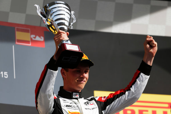 2015 GP3 Series Round 1. Circuit de Catalunya, Barcelona, Spain. Sunday 10 May 2015. Podium. Marvin Kirchhofer (GER, ART Grand Prix). Photo: Zak Mauger/GP3 Series Media Service. ref: Digital Image _L0U5374