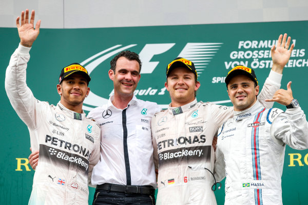 Red Bull Ring, Spielberg, Austria. Sunday 21 June 2015. Lewis Hamilton, Mercedes AMG, 2nd Position, the Mercedes AMG Constructors Trophy delegate, Nico Rosberg, Mercedes AMG, 1st Position, and Felipe Massa, Williams F1, 3rd Position, on the podium. World Copyright: Glenn Dunbar/LAT Photographic. ref: Digital Image _89P5852