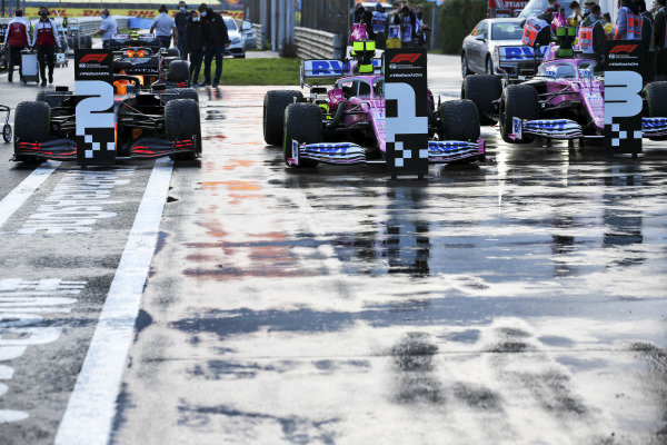 Cars of Max Verstappen, Red Bull Racing RB16, Pole Sitter Lance Stroll, Racing Point RP20 and Sergio Perez, Racing Point RP20 in Parc Ferme