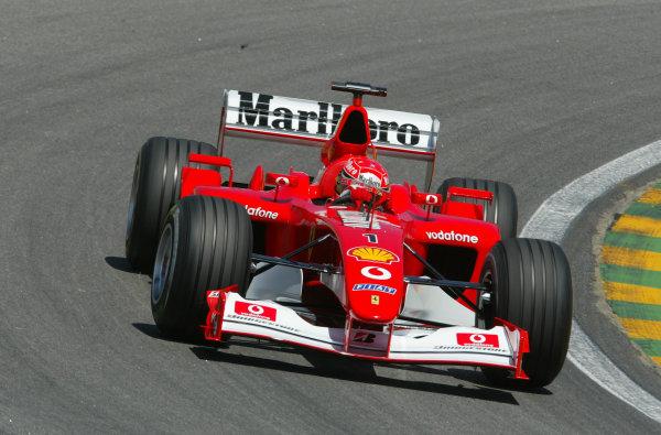 2002 Brazilian Grand Prix - Friday PracticeInterlagoes, Sao Paulo. 29th March 2002Michael Schumacher (Ferrari F2002). World Copyright - LAT Photographicref: Digital File Only