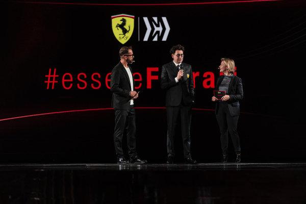 Mattia Binotto, Ferrari Team Principal talks with the launch hosts