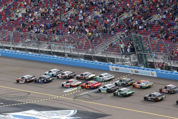 #20: Christopher Bell, Joe Gibbs Racing, Toyota Supra Rheem and #2: Tyler Reddick, Richard Childress Racing, Chevrolet Camaro Hurdl green flag start