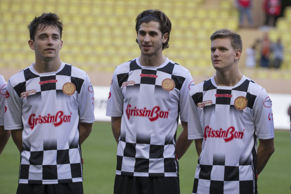 Charles Leclerc (MON) Prema Racing, Antonio Giovinazzi (ITA) and Mick Schumacher (GER) at World Stars Football Match, Louis II Stadium, at Formula One World Championship, Rd6, Monaco Grand Prix, Preparations, Monte-Carlo, Monaco, Tuesday 23 May 2017.